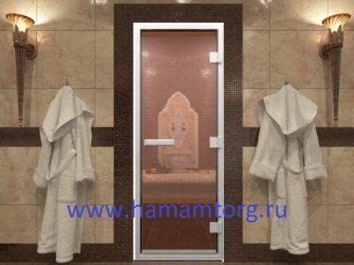 Дверь для хамама бронзо прозрачное